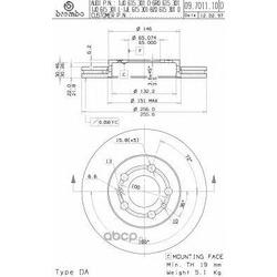 Диск тормозной передний вентилируемый (Brembo) 09701111