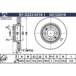 Тормозной диск (GALFER) B1G22202161