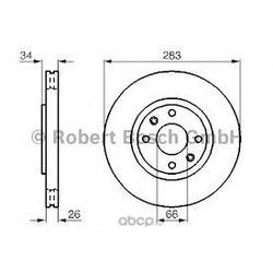 Диск тормозной передний вентилируемый Bosch (Bosch) 0986478979