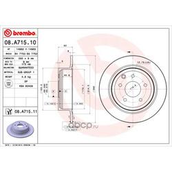 Тормозной диск (Brembo) 08A71511