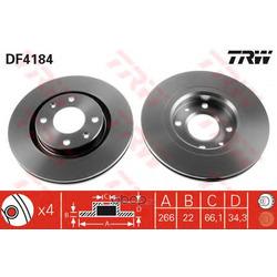 Диск тормозной вентилируемый (TRW/Lucas) DF4184