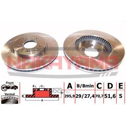 Торм. диск передний вент. Opel Antara 06- 296x29x5 (NAKAYAMA) Q4670