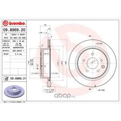 Тормозной диск (Brembo) 09896921