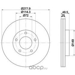 Диск тормозной вентилируемый (Mintex) MDC1691