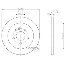 Тормозной диск (Hella) 8DD355105851