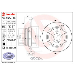 Диск тормозной, окрашенный (Brembo) 08958411