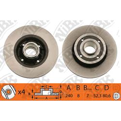 Диск тормозной задний с подшипником ступицы (NiBK) RN1173