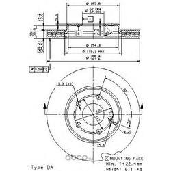 Тормозной диск (Brembo) 09868111