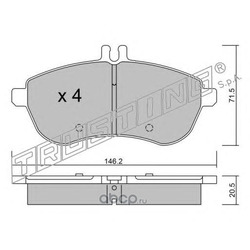 Комплект тормозных колодок, дисковый тормоз (Trusting) 6810