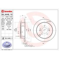 Диск тормозной задний (Brembo) 08A44610