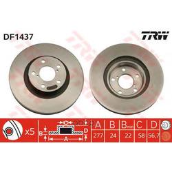 Диск тормозной вентилируемый (TRW/Lucas) DF1437