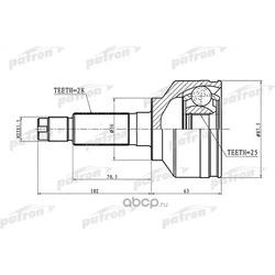 ШРУС наружн к-кт KIA: Sorento 2.4i/2.5CRDi 02-09 (PATRON) PCV1654