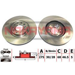 Торм. диск передний вент. Audi A6 (II) 12/97-01/20 (NAKAYAMA) Q4654