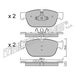Комплект тормозных колодок, дисковый тормоз (Trusting) 8710