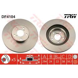 Диск тормозной вентилируемый (TRW/Lucas) DF4104