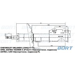 Стойка амортизационная газомасляная передняя левая (BORT) G22252054L