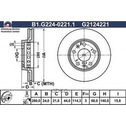 Тормозной диск (GALFER) B1G22402211