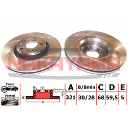 Торм. диск передний вент. AUDI A6 (III) 2.8i V6 24 (NAKAYAMA) Q4854
