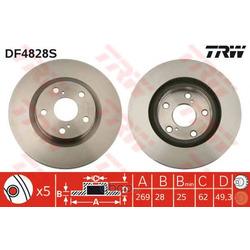 Диск тормозной вентилируемый (TRW/Lucas) DF4828S