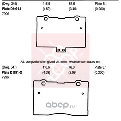 Колодки тормозные передние (HONDA) 45022SJAE00