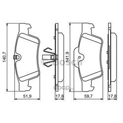 Колодки тормозные дисковые задние комплект (Bosch) 0986494256