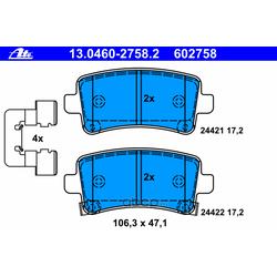 Колодки тормозные дисковые, комплект (Ate) 13046027582