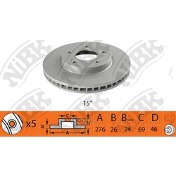 Диск тормозной передний (NiBK) RN1366