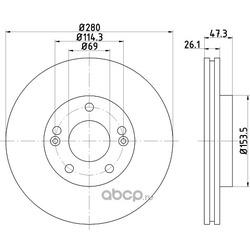 Тормозной диск (Hella) 8DD355120141