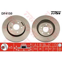 Диск тормозной вентилируемый (TRW/Lucas) DF4150