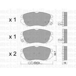 Комплект тормозных колодок, дисковый тормоз (Metelli) 2208410