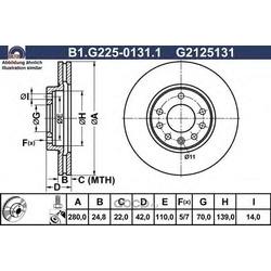 Тормозной диск (GALFER) B1G22501311