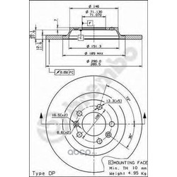 Тормозной диск (Brembo) 08868211