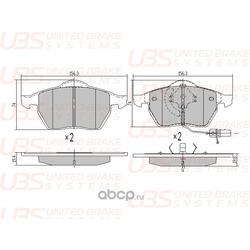Колодки тормозные, комплект, передние (UBS) BP1102005