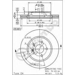 Тормозной диск (Brembo) 09782311