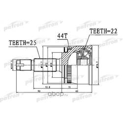 ШРУС наружный с кольцом ABS 22x50x25 ABS:44T KIA CERATO I 04-09, SPECTRA 04-09 (PATRON) PCV1111