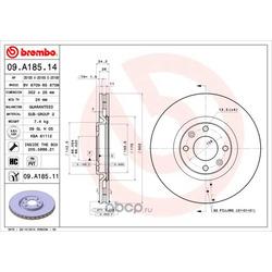 Диск тормозной передний вентилируемый (Brembo) 09A18514