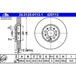 Диск тормозной вентилируемый (Ate) 24012501131