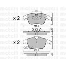 Комплект тормозных колодок, дисковый тормоз (Metelli) 2206755