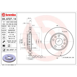Диск тормозной передний вентилируемый (Brembo) 09A72714