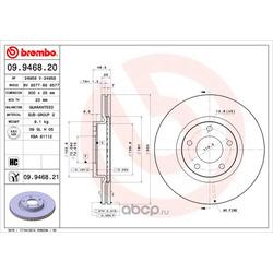 Тормозной диск (Brembo) 09946820