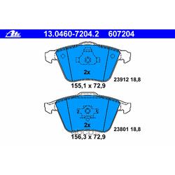 Комплект тормозных колодок, дисковый тормоз (Ate) 13046072042
