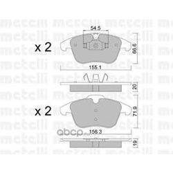 Комплект тормозных колодок, дисковый тормоз (Metelli) 2206750