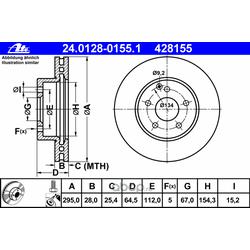 Диск тормозной вентилируемый (Ate) 24012801551