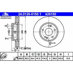 Диск торм. пер. Kia Ceed, Hyundai I30 07 заказ не менее 2 единиц (Ate) 24012601501