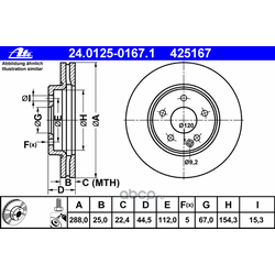 Тормозной диск (Ate) 24012501671