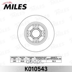 Диск тормозной RENAULT CLIO III 05-/MEGANE II 02- задний без подшипника (Miles) K010543