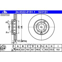 Тормозной диск (Ate) 24032201511