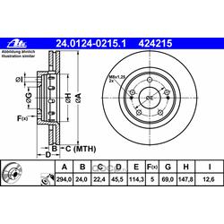 Диск тормозной вентилируемый (Ate) 24012402151