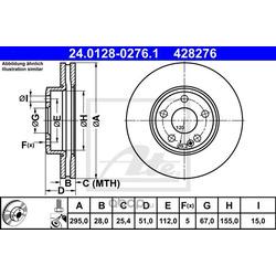 Диск тормозной, передний (Ate) 24012802761