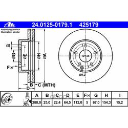 Тормозной диск (Ate) 24012501791